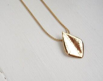 "Gold Vermeil Petal Pendant - Hammered - Handcrafted Necklace - 18"" length"
