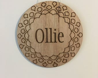 Custom Name Plaque, Laser Engraved Wall Plaque, Timber Wall Hanging, Laser Cut Timber Plaque