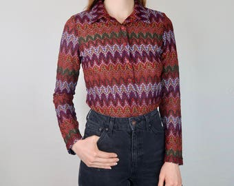 90's Self Esteem Printed Top Button Down 700's Inspired Zig Zag Collared USA Maroon Long sleeve Semi Sheer Flame Vintage Nineties