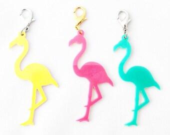Acrylic Flamingo Planner Charm, Zipper Charm, Purse Charm