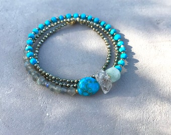 Turquoise stone Mexican campitos, herkimer diamond, pyrite, kyanite rondelle semi-precious stone turquoise rondelle faceted bracelet