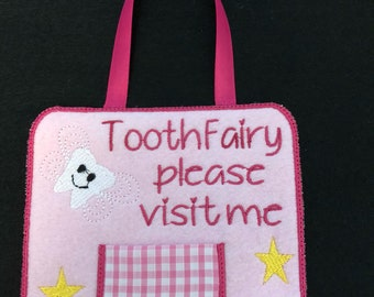 Tooth fairy door hanger, Tooth fairy pocket, tooth decoration