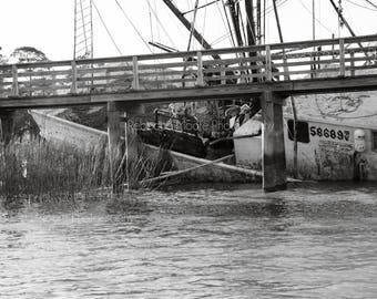 Ship Wreck II Black and White Photograph Boat Nautical Art Decorative