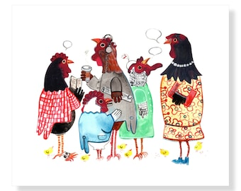 Chickens at a PTA Meeting-Chicken Art Print Home Decor Key West Chickens Mangoseed