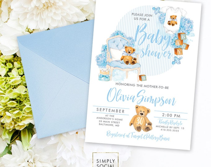 Teddy Bear Baby Shower Invitation - Baby Boy Baby Shower Invitation Blue and Grey Invite Baby Shower Baby Blocks Printable Invitation