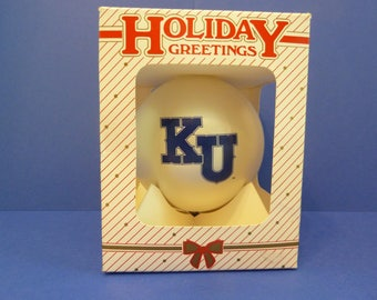 Christmas Ornament, K U, By: Holiday Greetings, Ornament Unlimited, Made in USA, Original Box