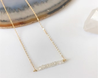 Moonstone Crystal Bar Necklace, Moonstone Bar Necklace, Crystal Bar Necklace, Rainbow Moonstone Necklace, Crystal Necklace