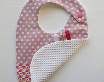 Bib baby 6-12 months cotton fabric and sponge tonsrose orange white graphic triangles and dots