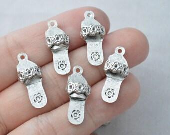 10 Pcs Slipper Charms Sandal Charms Antique Silver Tone 22x10mm - YD0388