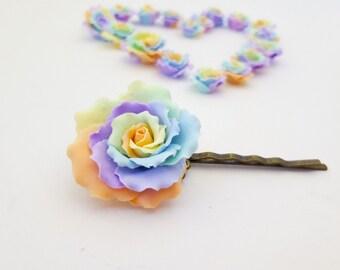 Rainbow rose hairpin, rainbow hairpin, rainbow flower hairpin, rainbow flower, pastel rainbow flower, pastel rose, colorful rose