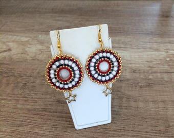 Beaded Hoop Earrings, Dangling Boho Earrings, Star Ear Drop, Large Beaded Earrings, Disc Dangle, Beadwork Jewelry, Birthday Gift, Women Gift