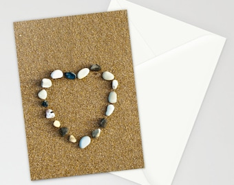 Set of 3 folded cards, valentine card, heart, pebble heart, any occasion card, love, card and envelope