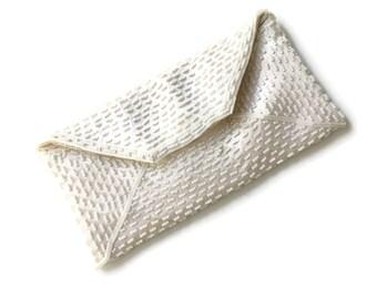 White Beaded Clutch for DIY Restoration, White Evening Bag Beaded, Wedding Purse, Bridal Money Bag, Something Old, Wedding Clutch