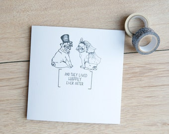 Personalised pug and French bulldog wedding card - whimisical illustration of a pug and frenchie getting married.
