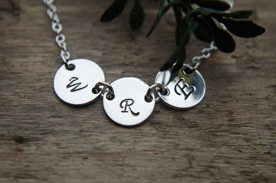 3 Initial Necklace | Personalized Necklace | Sterling Silver Three Initials | Mom of 3 | Three Best Friends | Triple Disc Sister Necklace
