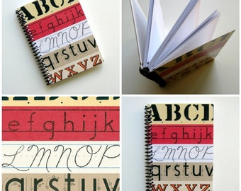 ABCs Writing Journal Spiral Bound, Blank Sketchbook, Back to School, A6 Paper Notebook, Cute Pocket Journal, Diary Journal, Gifts Under 20
