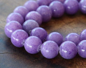 Mountain Jade Beads, Lavender, 10mm Round - 15 inch strand - eMJR-M24-10