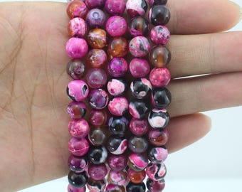 Hot Pink Agate Beads Supplies ,4 6 8 10 12 14MM Jewelry Beads ,Round Agate Beads,Gemstone Beads for DIY Jewelry Making-15inches-EB222