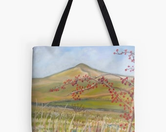 """Yorkshire Hills Landscape Scenery Tote Bag - Artist's Pastel Painting Design. Two Sizes Available Medium 16"""" and Large 18"""""""