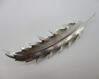 Silver Tone Feather Brooch Unsigned