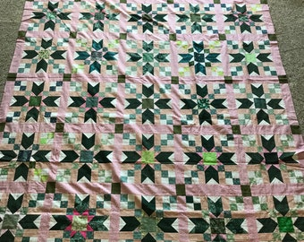 Quilt Top : Green & Pink Stars w/ Binding
