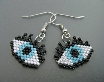 Evil Eye Earrings / Peyote Earrings / Gift for Her / Eyelashes Earrings / Beaded Earrings /  Seed Bead Earrings / Sterling Silver Earrings