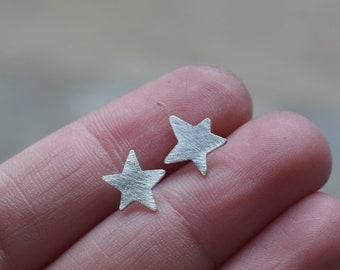Star earrings in sterling silver minimal stud earrings silver star earrings handmade jewelry star jewelry dainty jewelry - amejewels
