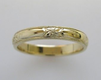 Hand Engraved Wedding Band or Anniversary Band with Orange Blossom and Milgrain Edge in 14k Yellow Gold