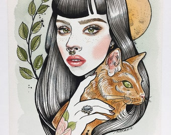 Girl and Cat  - Tattooed Girl -  Watercolor Tattoo Illustration - Painting - Art