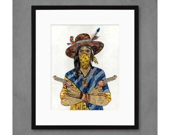 Cowgirl with Bandana Art Print