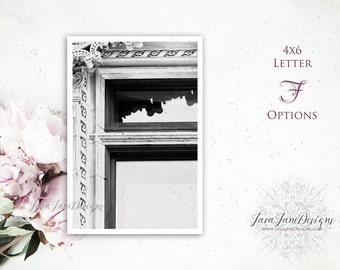 Letter F Photo | DIY Gift for Grooms Family | Masculine Architecture Font | Artwork Gift For Dad, Groomsmen, Fathers Day | Black and White