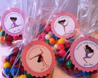 Gymnastics Party Favor Tags - TAGS ONLY ( Set of 12) / African American Gymnastics / Dark Skinned Gymnastics Birthday Favors