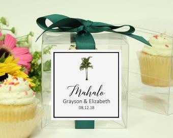 8 - Vintage Palm Tree Cupcake Boxes | Tropical Wedding Favor Box | Palm Tree Bridal Shower Favor Box | Tropical Bridal Shower Cupcake Box