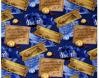 Polar Express Christmas Fabric The Polar Express Ticket and Bell Toss By Springs Creative Sold By The Half Yard in One Continuous Cut