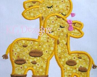 Mommy and Baby Giraffe Machine Applique Embroidery Design - Mommy Baby Giraffe Applique - Giraffe Applique Design - Applique Design