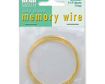 """Beadsmith Gold Plated Memory Wire 2 1/4"""" Diameter, 12 Loop"""