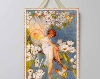 White Flower Fairy Vintage Board, Fairy Art, Fairy Decor, Flower Fairies, Fairy Wall Decor.