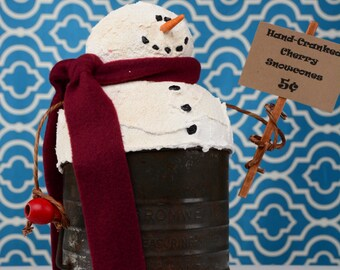 Whimsical Snowman, Primitive Snowman, Snowman in Vintage Flour Sifter, Snowcone Machine, OOAK