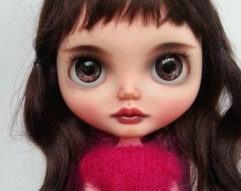 Cherry brown hair - custom ooak blythe doll, unique art doll by AlmondDoll