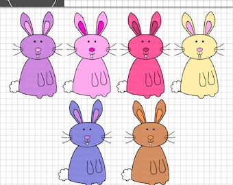 Easter Bunny Clip Art, Easter Clipart, Digital Clip Art, Instant Download, Commercial Use, Easter Bunnies, Rabbit Clip Art, Dig