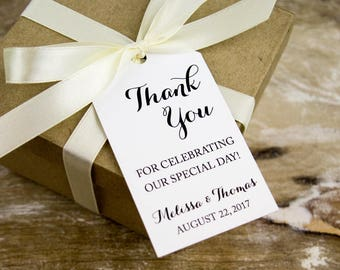 Thank you for celebrating our special day - Wedding Favor Tags - Custom Tags - Wedding Labels - Wedding Favor - MEDIUM 2 5/8 x 1.5 inch