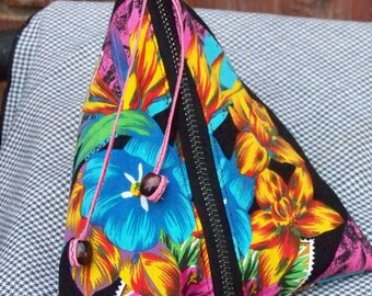 Zippered Pouch Vacation Flower Tropical Themed Fabric Handmade