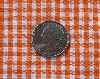"GINGHAM CHECK 1/8"" Orange & White 100% Cotton Fabric - by the Yard, Half Yd, Quarter Yd, FQ (16 other colors)"