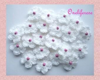 Sale&Wholsale 25 pcs Mini Crochet Flowers White