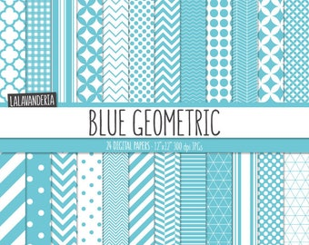 Geometric Digital Paper Package with Blue Backgrounds. Printable Papers Set - Baby Boy Patterns. Digital Scrapbook. Instant Download