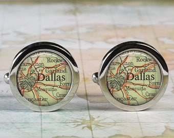 Dallas cuff links, Dallas Texas map cufflinks wedding gift anniversary gift for groom gift for him groomsmen best man Father's Day gift