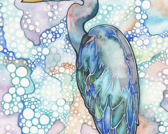 Great Blue Heron 5 x 7 print of bird watercolour peach pink turquoise nature wildlife beach cottage decor trippy psychedelic pattern texture