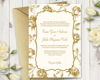"DIY Wedding Invitation Template ""Vintage Roses"", Gold. Printable Wedding Invites with Roses. Editable Text, MS Word Format. Instant Download"