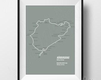 Nurburgring Full Circuit Print - Digital Download - F1 Race Track Map - 8 x 10 - Nurburgring Nordschleife (North Loop) Circuit in Germany