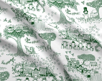 Green Toile Fabric - Teach Your Children Well A Toile For Tots By Sammyk - Toile Cotton Fabric By The Yard With Spoonflower